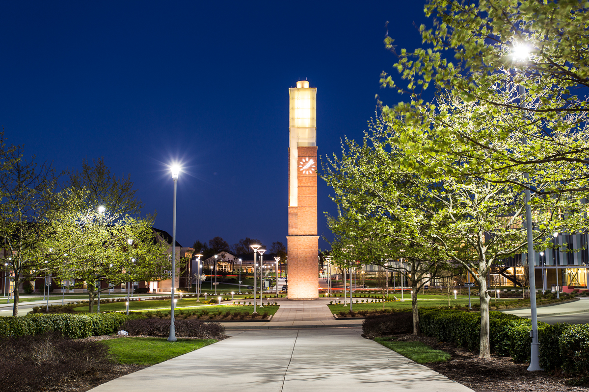 Campus clock tower at night